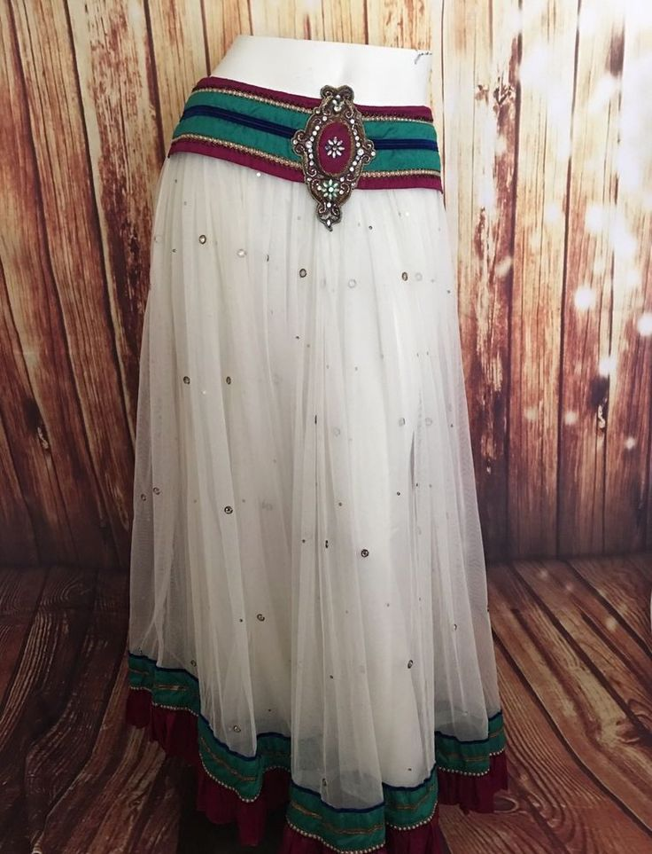 "Indian White Sequin Ruffled Gypsy Belly dance Skirt Esmeralda 36"" Waist  #Unknown #FullSkirt"