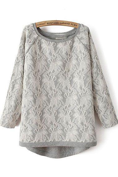 Grey Lace Loose Sweatshirt