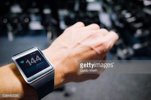 Stock Photo : Smartwatch showing pulse.