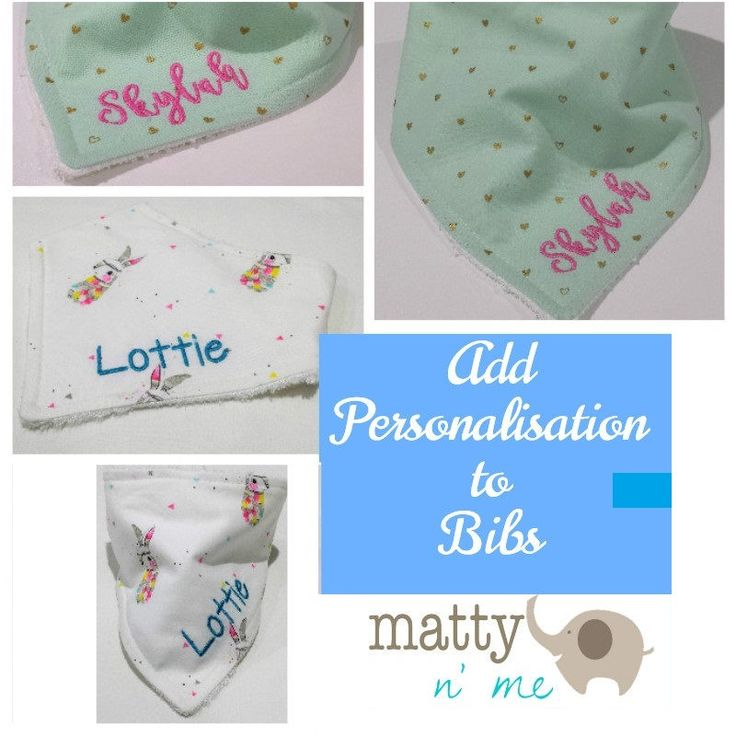 Add an Embroidery name to any Dribble Bib, Bandana Bib, Everyday Bib. Customise Bib with Childs Name. Baby Shower Gift by MattynMe on Etsy