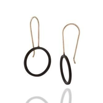 Minimalist Short Black and Gold Circle Earrings, by BAARA Jewelry