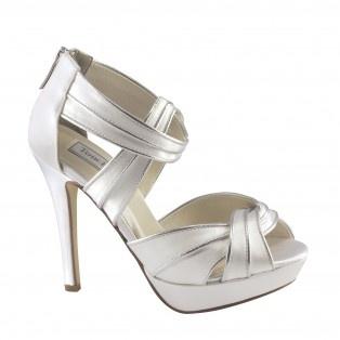 blair488 women strappy high heels  white  bridal shoes