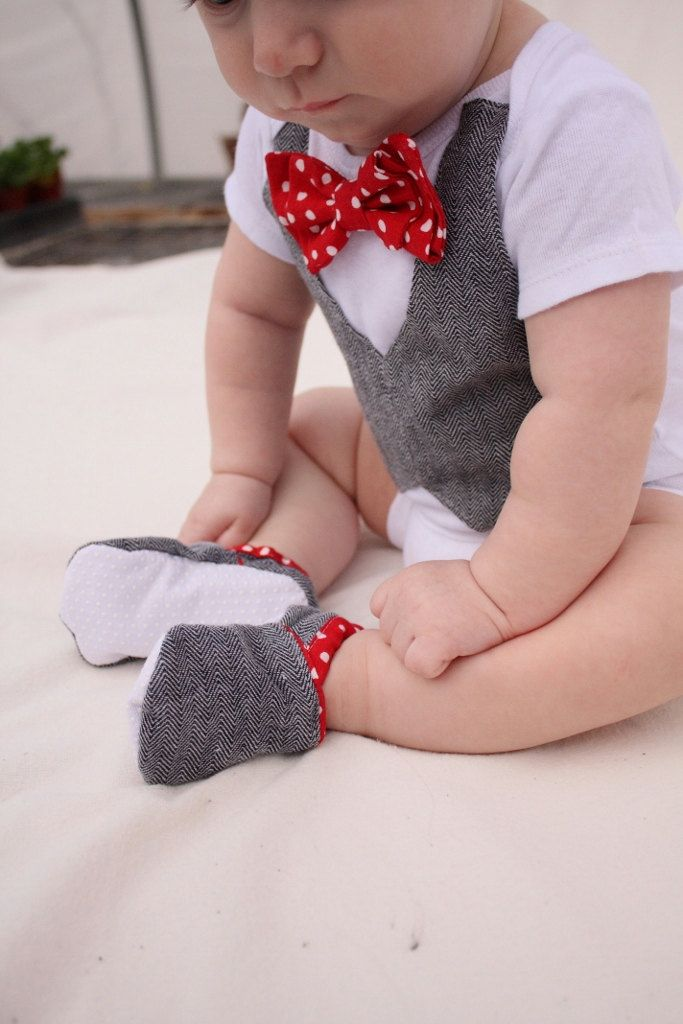 Baby boy shirt, bow tie shirt, Baby boy photo prop, Red bow tie. $34.99, via Etsy.