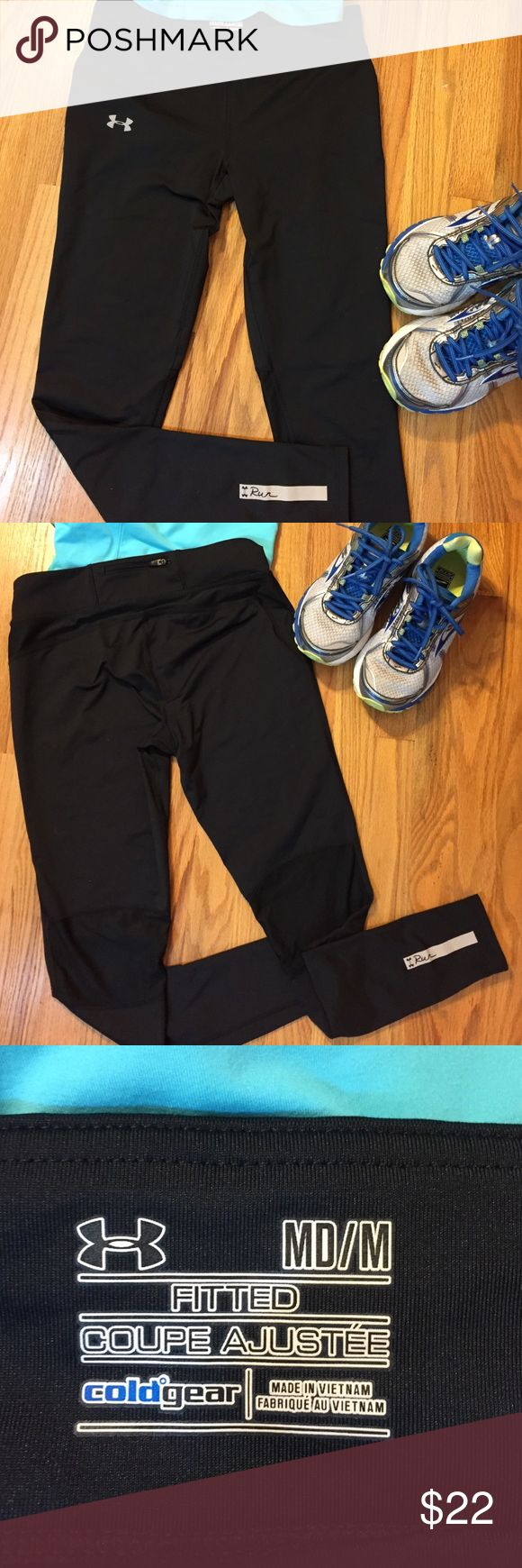 EUC Under Armour Cold Gear Running Leggings Fitted, not compression, black cold gear with stretch mesh behind the knees.  Zipper pocket in the back for key and coffee money. 85% polyester, 12% elastane Under Armour Pants Track Pants & Joggers