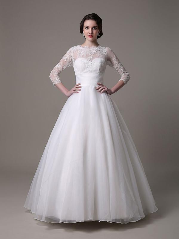 3/4 manches robe de mariée en satin et en dentelle robe ornée de perles [#ROBE2012980] - robedumariage.com