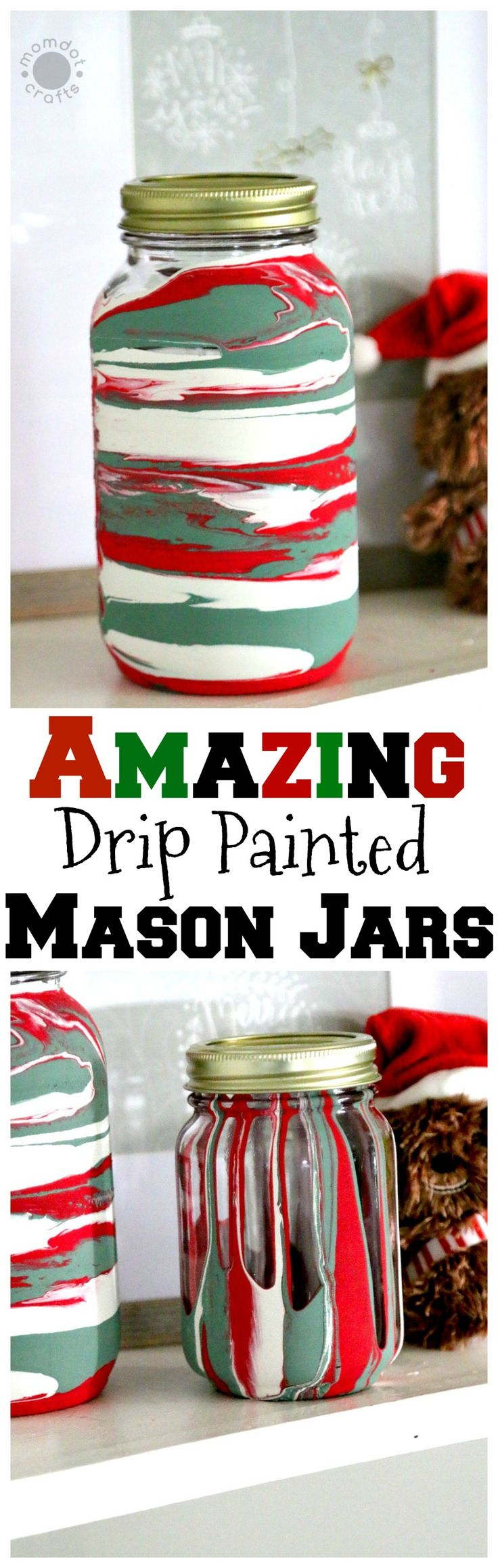 Christmas Drip Painting Mason Jars with Milk