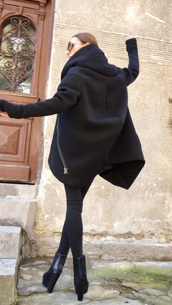 NEW Lined Warm Asymmetric Extravagant Black Hooded Coat by Aakasha