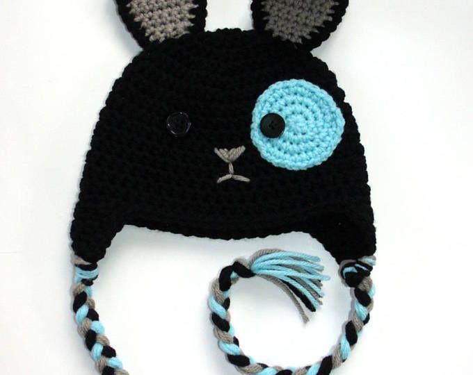 Tapa conejo negro a crochet, tuque liebre en tejido, animal sombrero lindo para niños adolescentes y adultos