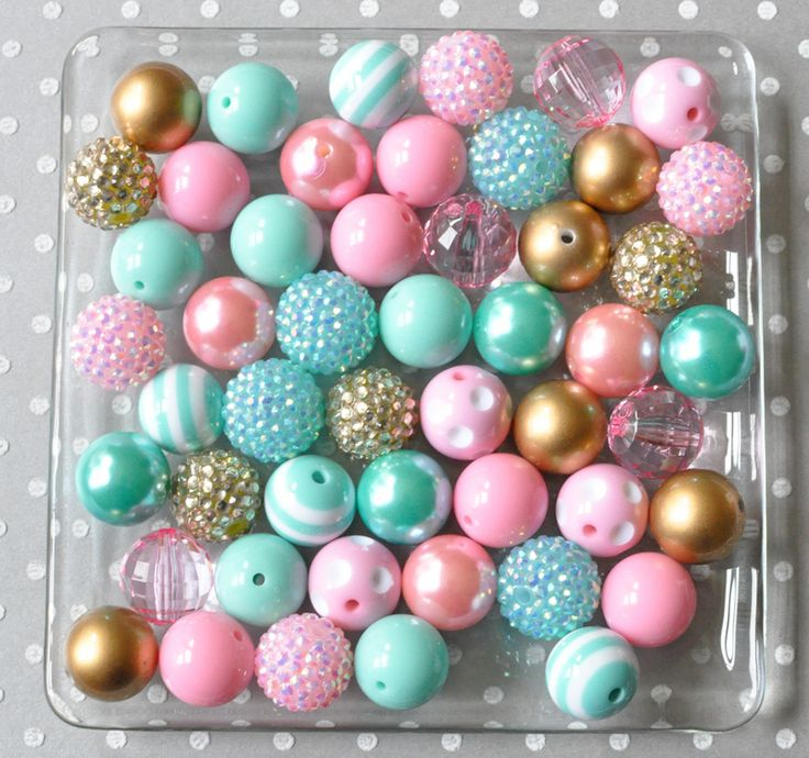 Pink, aqua, and gold chunky bubblegum beads wholesale for children's gumball necklaces
