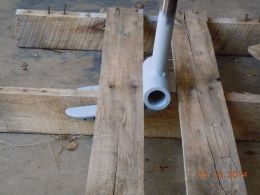 Pallet Breaker - Homemade pallet breaker constructed from surplus drill tube and angle iron.