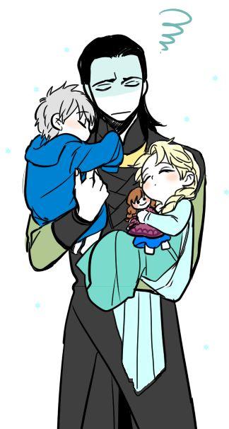 Not even gunna lie, this makes my heart melt!  Loki, Jack Frost, & Elsa ❤️