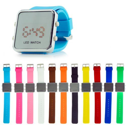 Luxury LED Mirror Digital Casual Sports Watch for Men and Women (Unisex) Silicone Jelly Band - Kare & Kind® retail packaging. (Light Blue)  #band #BLUE #Casual #Digital #Jelly #Kare #Kind® #Light #Luxury #Mirror #Packaging #Retail #Silicone #Sports #Unisex #Watch #Women MonitorWatches.com