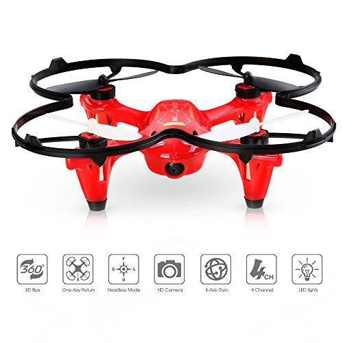 DEERC HS170C Predator 2 Mini RC Quadcopter Drone with HD Camera 2.4Ghz 4 CH 6 Axis Gyro HelicopterMulticolor BLACK\RED