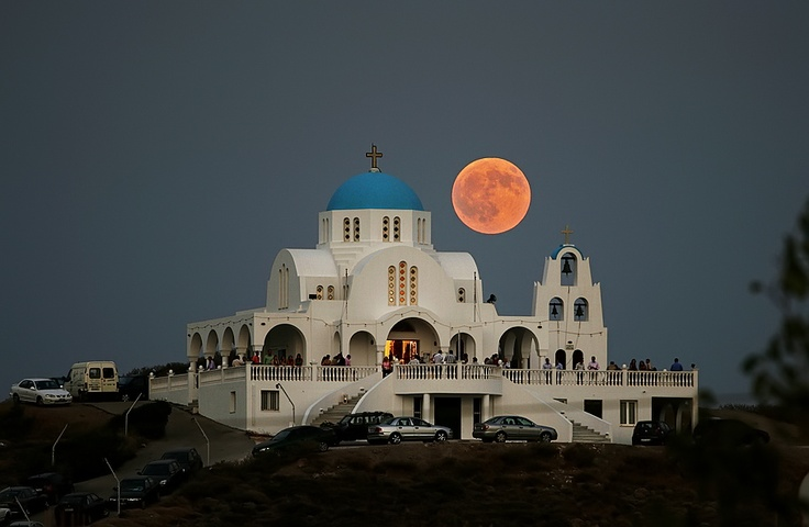 Moonrise at Profitis Ilias church, Lavrio area, Greece    This is a snap I'd love to take someday!