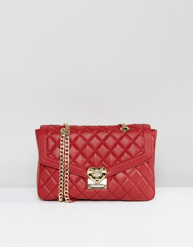 LOVE MOSCHINO QUILTED SHOULDER BAG - RED. #lovemoschino #bags #shoulder bags #lining #silk #suede #
