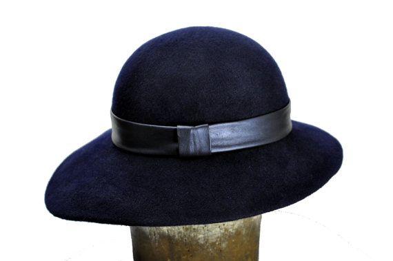 Bluebell Wool felt floppy hat in Navy Blue by SOHODA on Etsy