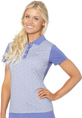 Tile Print Golf Polo Shirt - Shop for women's Shirt - bleached denim-01 Shirt