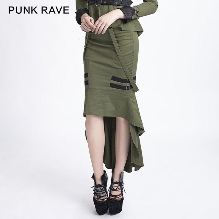 Стимпанк панк в стиле милитари мода женская сексуальность фиштейл готический юбка 2 цвет купить на AliExpress
