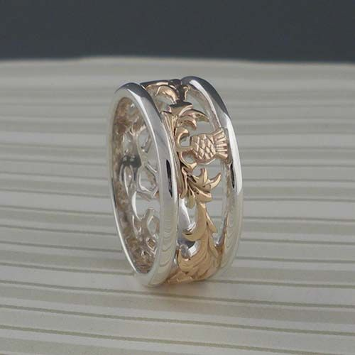 Sterling Silver & 10K Scottish Thistle Wedding Ring