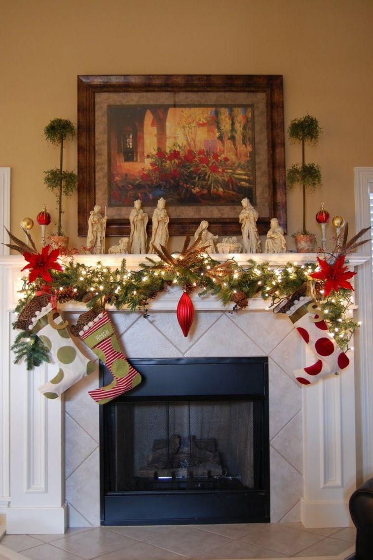 decorar chimenea blanca calcetines