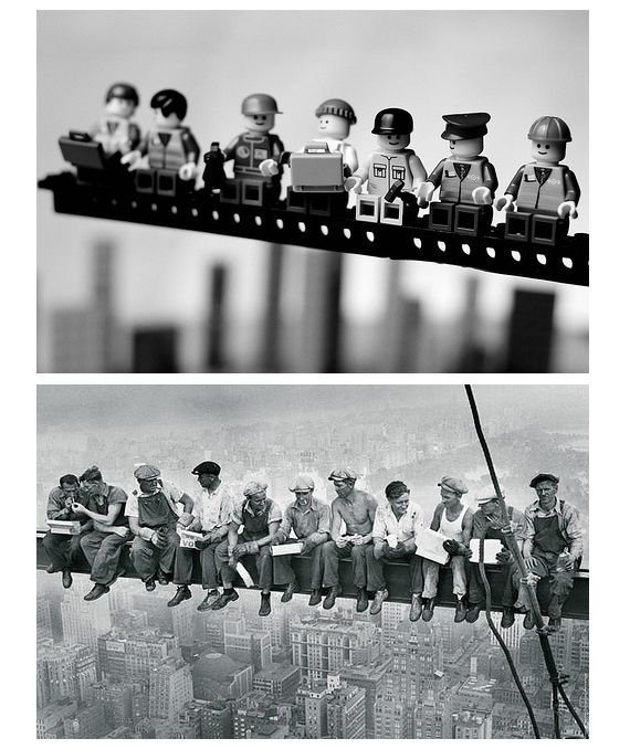 Famous photos remounted with Legos, by Mike Stimpson