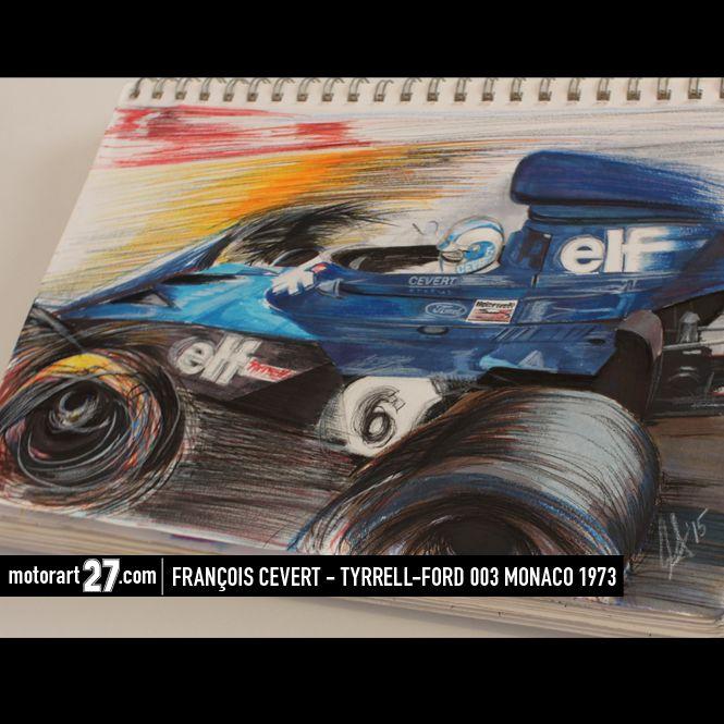 François Cevert at Monaco 1973 #F1 #Formula1 #FormulaOne #F1Art #OriginalArt #Tyrrell #JackieStewart #art #cars #paper #originalart #F1art #motorsportart #racingart #CarsDesign #GillesVilleneuve #RacingPaintings #Posts #MotorsRacing #F1Artworks #monacograndprix #car #motor #motorsport #racing #racingart #art #markers #ink