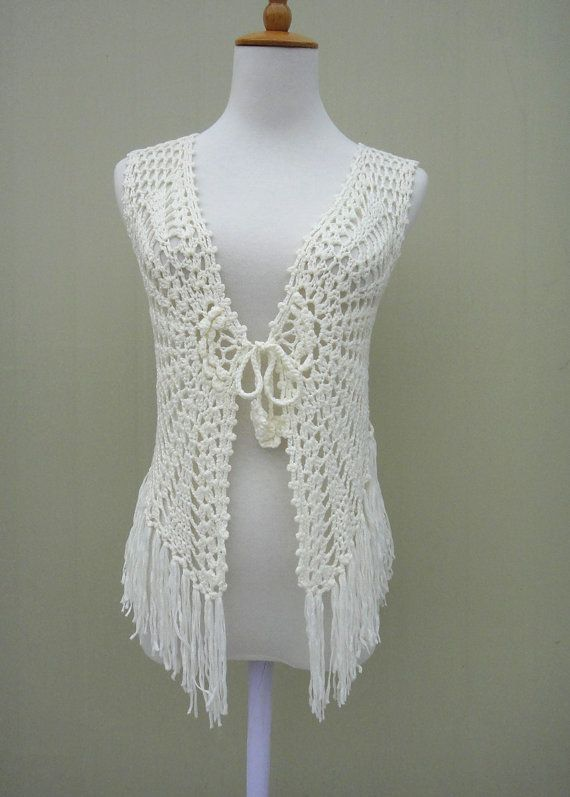 Fringe Crochet FLoral Sleeveless Cardigan Tie by TinaCrochet2016