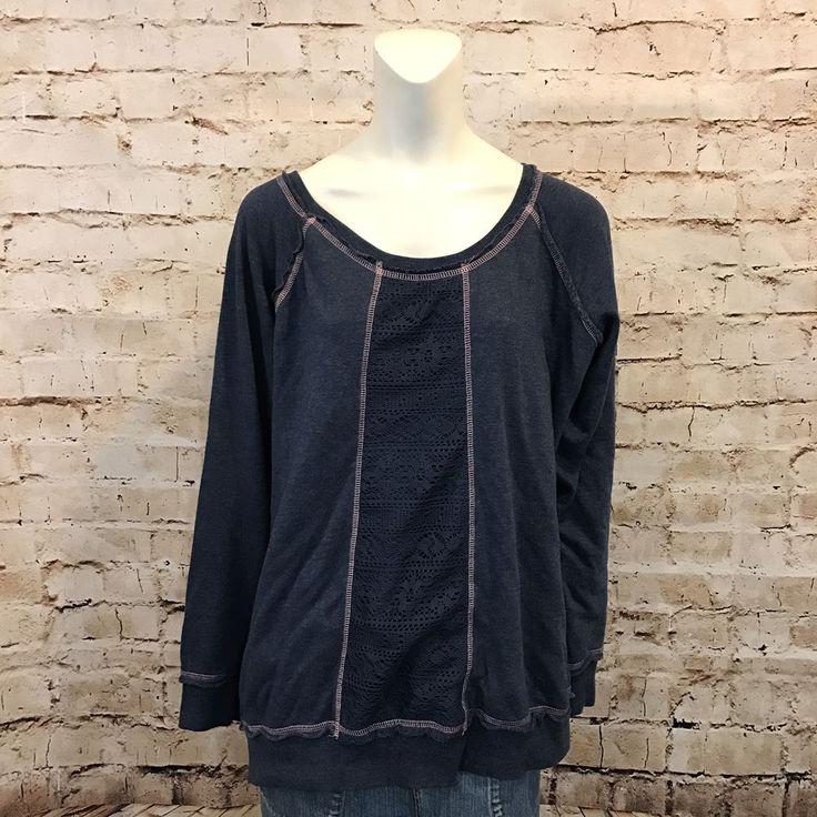 Maurices Womens 3 Sweat Shirt Blue Pink Lace Slub Knit Long Sleeve Top  | eBay