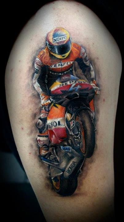 This tattoo of a motocross racer is amazing. #InkedMagazine #motocross #racer #tattoo #tattoos #inked