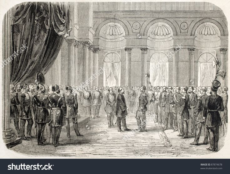 Alexandru Ioan Cuza received by the Sultan in Topkapy palace in Istanbul. Created by Godefroy-Durand after Poetsch, published on L'Illustration, Journal Universel, Paris, 1860