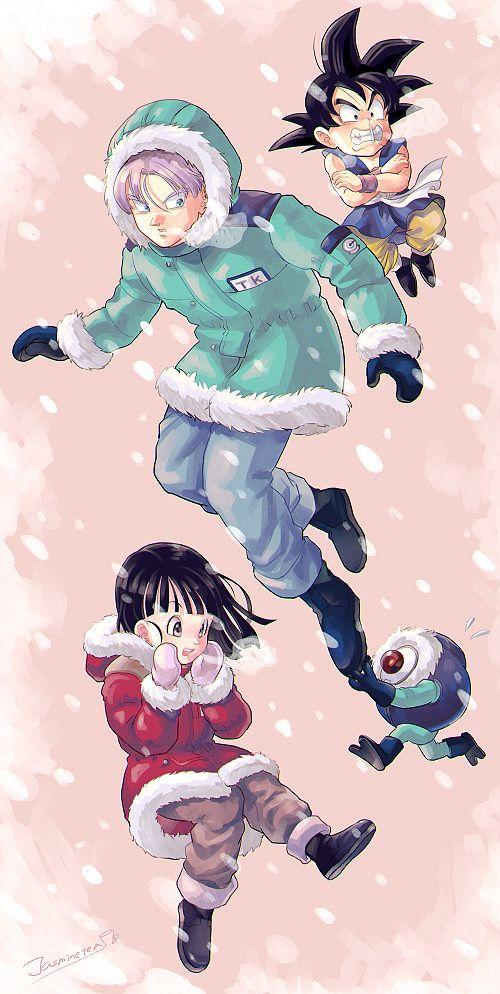 Goku, Trunks, Pan, and Giru