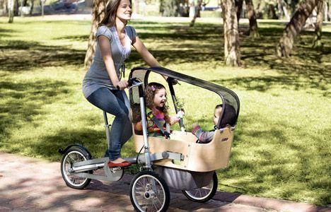 carreola para gemelos y bicicleta