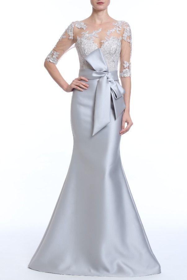 87cfa8110fcd Badgley Mischka EG2764 Silver Sheer Lace Illusion Trumpet Evening Gown |  Poshare