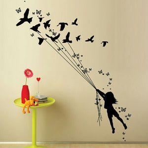 Wall Art - Black Vinyl - Girl With Birds & Butterflies