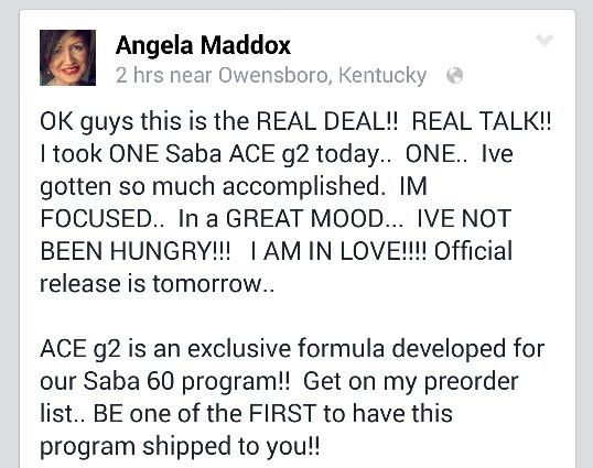 Saba ACE G2 is exclusive to our Saba 60 plan!!! Appetite control is amazing, smooth energy, focus, and a natural feel good!!!  sabaforlife.com/acebybrittanyg