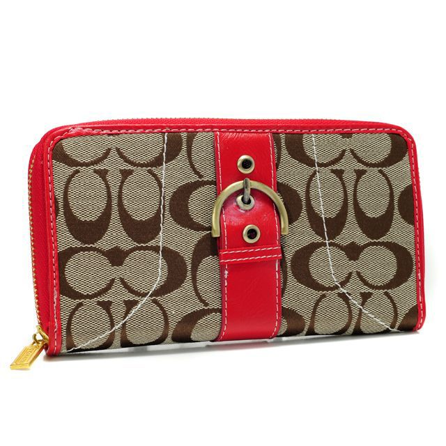 Coach Buckle In Signature Large Red Wallets AXG
