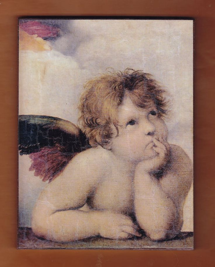"""Cherubim,Sistine Madonna, La Madonna di San Sisto,Raphael. Cherubim,Sistine Madonna, La Madonna di San Sisto,Raphael. A prominent element within the painting, the winged angels beneath Mary are famous in their own right. As early as 1913 Gustav Kobbé declared that """"no cherub or group of cherubs is so famous as the two that lean on the altar top indicated at the very bottom of the picture.Heavily marketed, they have been featured in stamps, postcards, T-shirts, and wrapping paper.These..."""