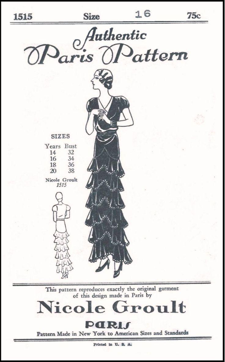 44 best 1930s Authentic Paris Patterns images on Pinterest