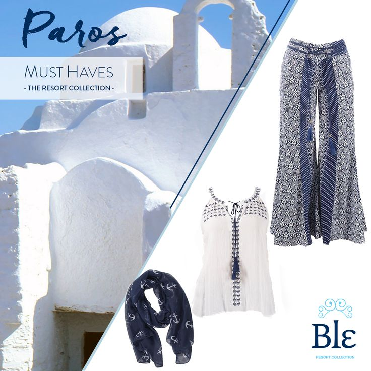 Do you know why sports-lovers meet every summer at Paros? The island's winds are ideal for windsurfing! If you are lucky enough to visit, a pair of trousers and a casual top will be your everyday look. And do not forget a pretty scarf for those windy days and nights! http://www.ble-shop.com/clothes/trousers-shorts/long-trousers-leaf-blue-medium-100-rayon-html.html http://www.ble-shop.com/clothes/blouses-shirts/blouse-in-white-blue-embroidery-medium-100-rayon-html-1962.html…