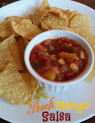 This Peach Mango Salsa is a sweet-n-spicy condiment perfect for serving with grilled fish or chicken.  Or simply enjoy it as a snack with your favorite tortilla chips!  This is an easy recipe to make and I found myself eating plain!