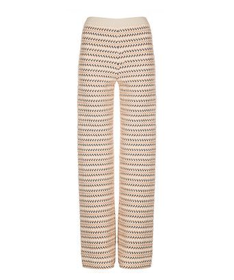 Broek knit pants 2 - Broek met rechte wijde pijpen en double chevron-zigzag met reliëf. De gebreide broek bestaat uit een combinatie van drie kleuren. Het model is afgewerkt met een elastische tailleband met goudkleurig glansdraad.