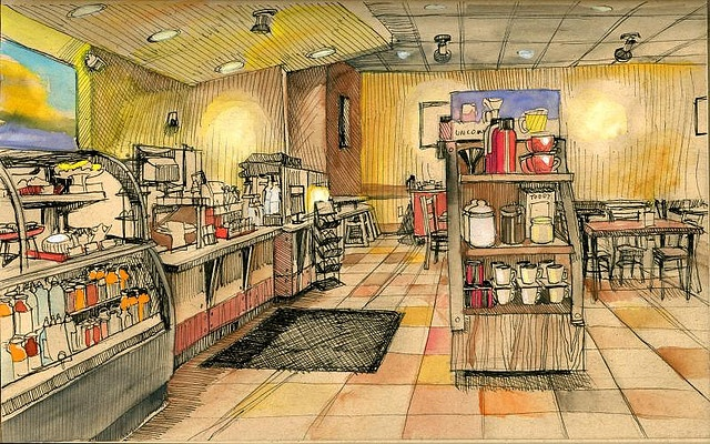 Borders Coffee shop by paul heaston / sketched in a Cachet Earthbound sketchbook with a Staedtler .005 and Niji waterbrush.