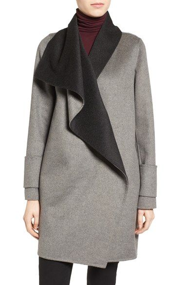 LOVE THIS!!! Calvin Klein Double Face Drape Front Coat available at #Nordstrom- Color should be Tin/Charcoal