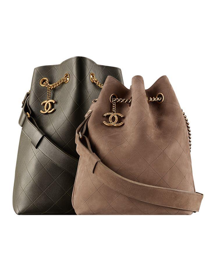 Drawstring bag, calfskin & light gold metal-dark khaki - CHANEL
