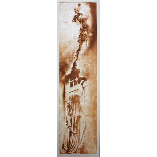 Resurrection, Solarplate intaglio with chine colle, 18.75in x 4.5in