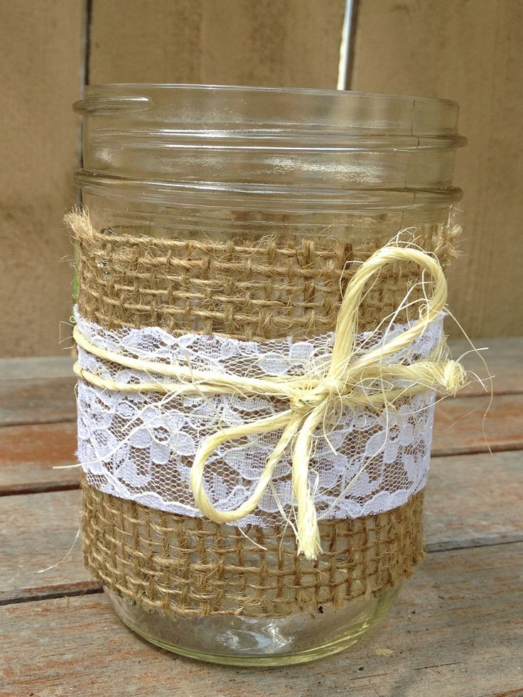 Set of 3 Burlap, Lace and Twine Mason Jars for Decor at a Wedding Shower, Wedding, Baby Shower, or Backyard for a Country/Rustic Atmosphere.   www.etsy.com/shop/LaceTwineAndBurlap
