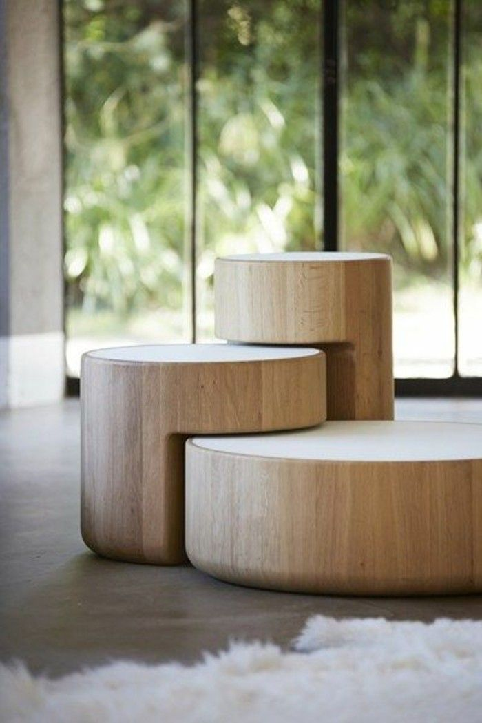 1000 ideas about table basse blanc on pinterest table - Tables basses rondes en bois ...