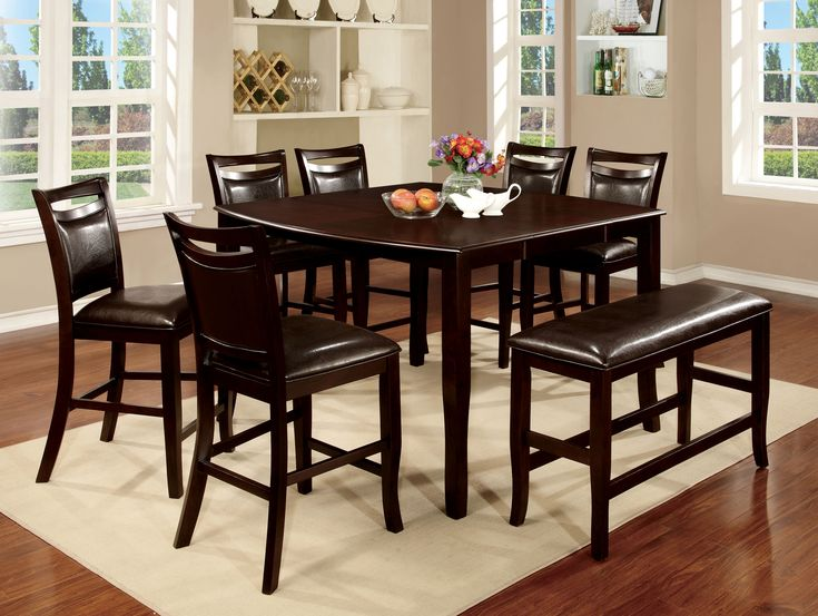 Furniture of America Armena Espresso 8-Piee Counter Height Table Set, Brown