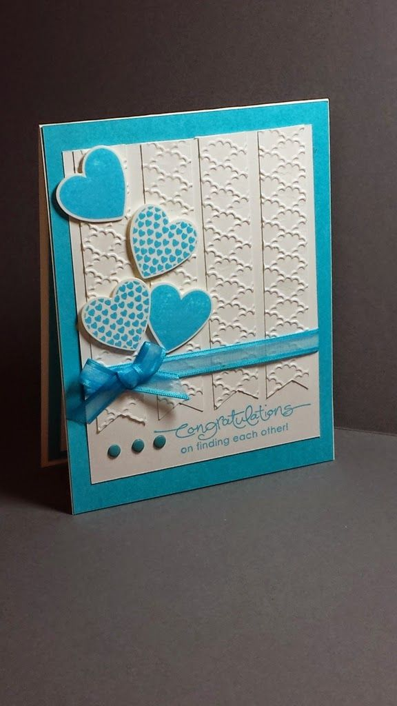 Stamp With Me Cindy G Fancy Fan embossing folder, Hearts A Flutter stamp set and die set and A Word for You stamp set (retired) are featured on this Tempting Turquoise and Whisper White engagement card.