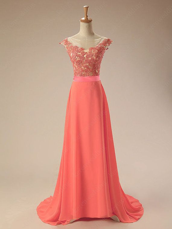 Coral wedding dress Long Chiffon Applique Bridesmaid Evening Dress ...